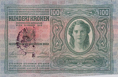 100 Krone Banknote 1919 With Military Stamp Of Kingdom Of Serbs,croats&slovenes!