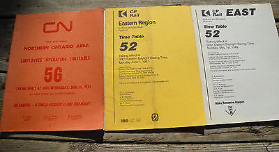 LOT OF 3 Vintage Railroad TIMETABLES Canadian National Pacific NORTHERN ONTARIO