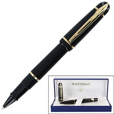 Waterman Phileas Rollerball Pen - Solid Black Gold Trim 49704W Brand New in Box