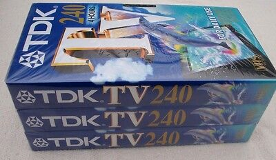 Sealed Pack Of Tdk Tv 240 Vhs Blank Cassette Tapes 3 X 4 Hour Tapes