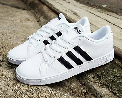 $65 Black White Classic Adidas Neo Baseline Sneakers Shoes 5.5 Y Boys Girls