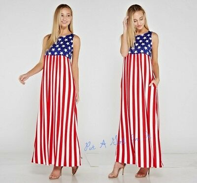 PLUS SIZE USA Red White Blue Stars Maxi Tank Boho Dress Pockets 1X ...