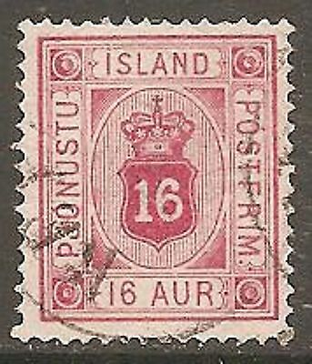 1895 Iceland Official 16a Carmine-Red SG O23a Used (Cat £55)