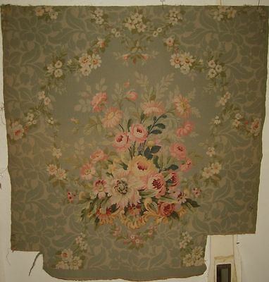 Antique Beautiful 19th C. French Woven Cotton & Wool Aubusson Fabric (9236)