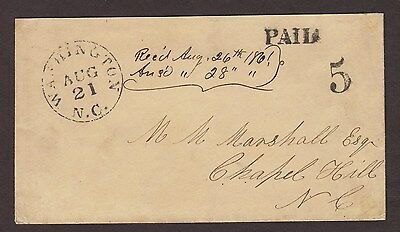 Confederate: Washington, NC 1861 08/21 Stampless Cover, PAID 5 to Chapel Hill