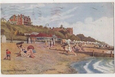 A.R. Quinton, The Beach Felixstowe, Salmon 2110 Art Postcard B735