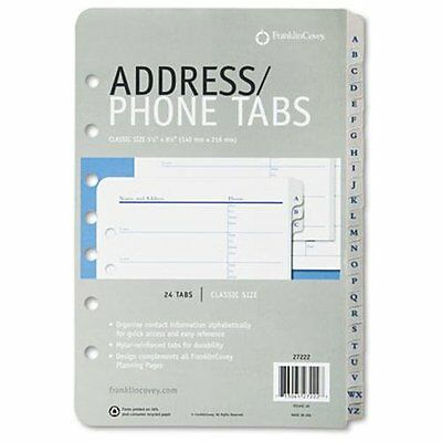 """Franklin Covey A-z Tabbed Address/phone Pages - 5.50"""" X 8.50"""" - White, Black"""