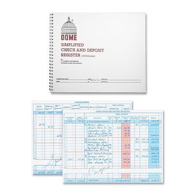 """Dome Publishing Check And Deposit Register - 50 Sheet[s] - Wire Bound - 8.50"""" X"""