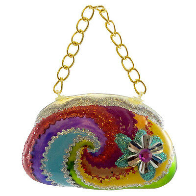 Holiday Ornament GROOVY PURSE SILVER Glass Handbag Peace 3613960 SILVER