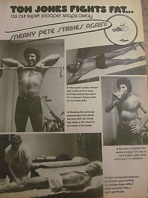 Tom Jones, Shirtless, Full Page Vintage Clipping