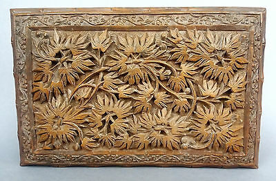 Indian Carved Wood Box Asian Wooden Trinket Leaf Foliage  UK