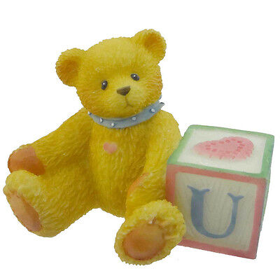 Cherished Teddies BEAR WITH ABC BLOCK Resin Teddy Bear Miniature Block 158488 U