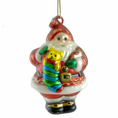 Holiday Ornament SANTA AND TEDDY Glass Claus Christmas Stocking z9921