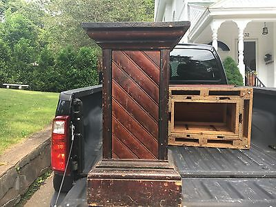 "C1880 pine country store stand pedestal Original varnish 32"" h x 18"" sq top 17"""