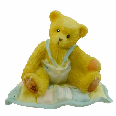 Cherished Teddies A GIFT TO BEHOLD Resin Baby Boy Quilt Teddy Bear 127922