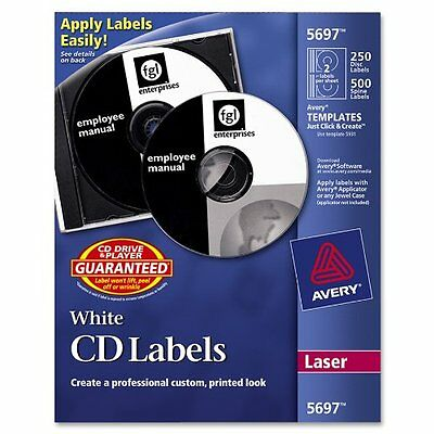 Avery Cd/dvd And Jewel Case Spine Label - 250 / Pack - Circle - 2/sheet - Laser