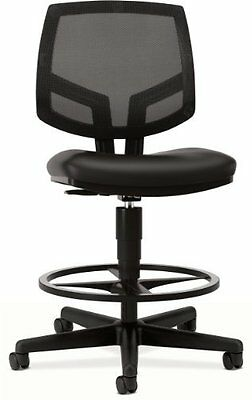 Hon Volt Mesh/leather Task Stool W/footring - Leather Black Seat - Back - Black