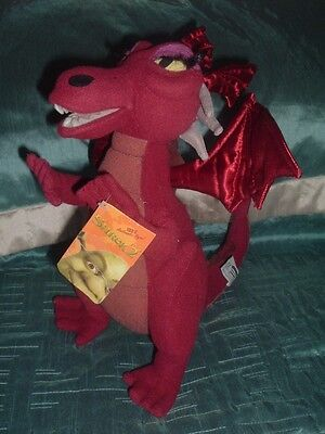 """Shrek 2 Large Red Dragon 12"""" Plush Soft Toy With Tag"""