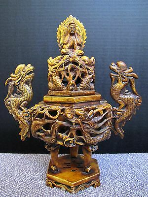 Vintage Chinese Clay Guanyin & Dragon Incense Burner Censer