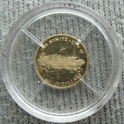 Liberia 2001 Gold-0.5g Proof 10 Dollars USS NIMITZ