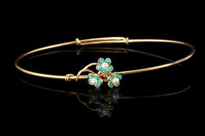 Antique Victorian 14K Gold Turquoise Seed Pearl Flower Bracelet  (06101785)