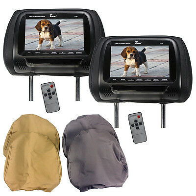 "Tview T77PL 7"" Tft Lcd Headrest Monitor 3 Interchangeable Headrest Covers Ir"