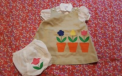Vintage 3 PC Girls Size 2T Jumper Dress Tulips and ISAACSON CARRICO Panties EUC
