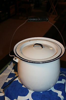 Vintage White Enamel Chamber Pot/Slop Bucket w/ Wood Handle and Lid FREE SHIP