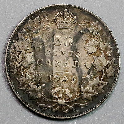 1906 CANADA Silver 50 Cents Scarce Edward VII Coin (16101607R)
