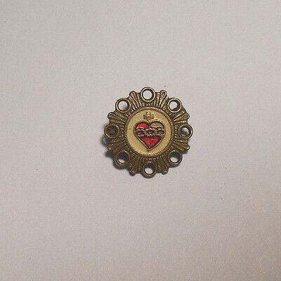 † VINTAGE SACRED HEART GUILLOCHE ENAMELED PIN / BROOCH † Religious Medal~Italy