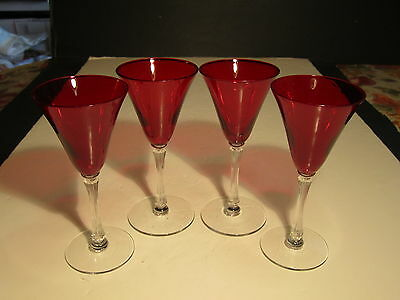 "Set Of 4 Morgantown Spanish Red Empress 6"" Tall Wine Stemmed Glasses"