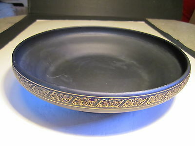 "Elegant Tiffin Large 11"" Black Satin Glass With Gold Band Edge Console Bowl"