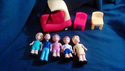 Lot of eight little tikes dollhouse figures and furniture