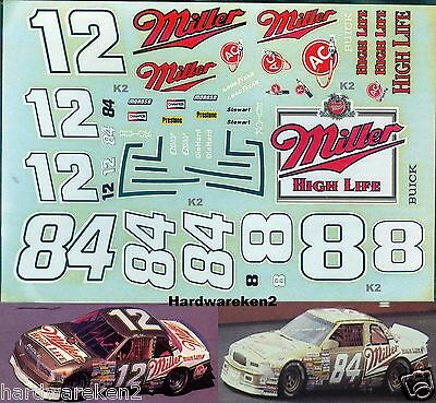 NASCAR DECAL # 8, #12, #84 MILLER HIGH LIFE 1988-1989 BUICK - 1/24 Scale