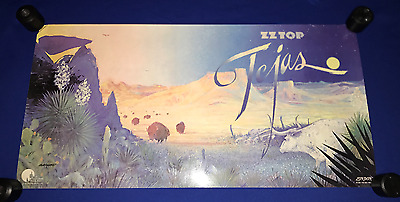 vintage 1976 ZZ Top Tejas LP PROMO POSTER 16x32in TEXAS NR MINT RARE!