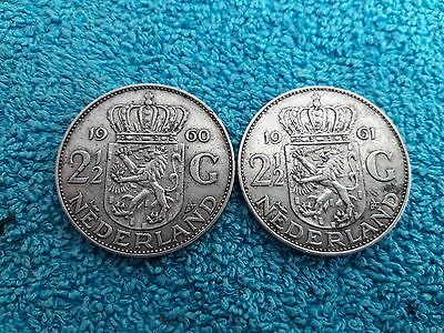 Lot de 2- 2 ½ Gulden 1960 & 1961 Juliana Nederlands  Pays Bas Netherlands Argent