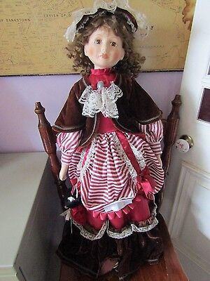 LARGE 28 inch (71cm) PORCELAIN DOLL & STAND