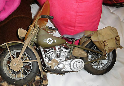 1:6 scale model Harley Davidson WLA 750 US Army WWII motorcycle used AS IS