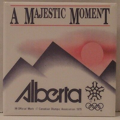 CALGARY '88 OLYMPIC Pinback Button ALBERTA - A MAJESTIC MOMENT (COA, 1979) Rings
