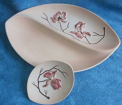 2 vintage CARLTON WARE Pink MAGNOLIA Serving DISHES
