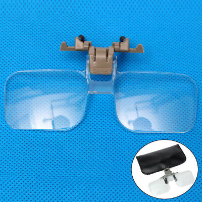 Loupe Eyeglass HD Lens Folding 2X Magnifying Glasses Clip On Precise Magnifier