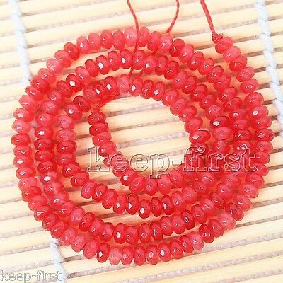 "5x8mm Natural Faceted Red Jade Gemstone Rondelle Shape Loose Beads 15"" AAA"