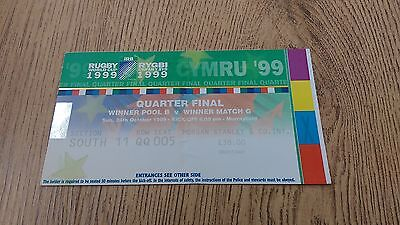 New Zealand v Scotland 1999 Used Rugby World Cup Quarter-Final Ticket