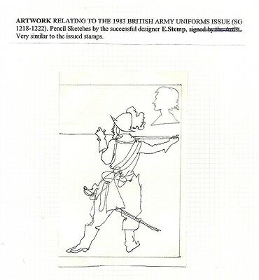 GB 1983 Army Uniforms pen & pencil essays 1 signed E. Stemp similar to the stamp