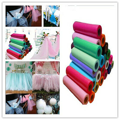 "1 Roll 12""x25Y Tulle Roll Spool Tutu Skirt Fabric Wrap Wedding Bow Stairs Decor"