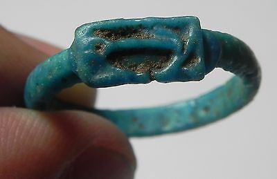 Zurqieh -Af1941-  Ancient Egypt. Time Of King Tut Faience Ring.  1400 B.c