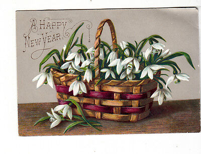 A Happy New Year Woven Basket w White Flowers Vict Card c 1880s