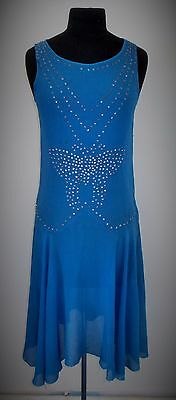 FRENCH 1920s ORIGINAL TROPICAL BLUE CREPE GEORGETTE FLAPPER DRESS UK SIZE 8 / 10