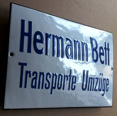HERMANN BETT Transporte Umzug Altes Emailschild ~ 1950 MAKELLOS Kurios SPEDITION