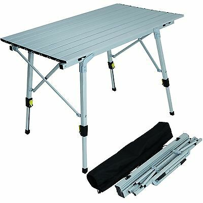 Adjustable Aluminium Lightweight Slatted Folding Table Portable Camping